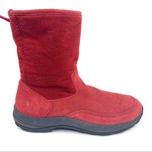 L.L. Bean suede red mid calf boots sz 11